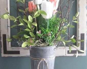 Spring Tulip Floral Arrangement, Gift Arrangement, Kitchen Island Centerpiece, Decoration, Hostess Gift