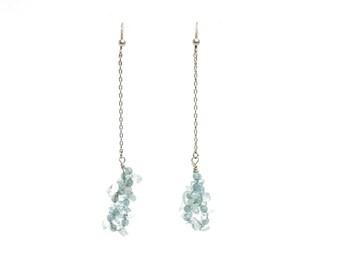 Long Dangle Earrings of Blue Topaz Cluster on a Chain