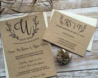 Rustic Wedding Invitation, Kraft Wedding Invitation, Shabby Chic Wedding Invitation, Western Wedding Invitation, Country Wedding Invitation,