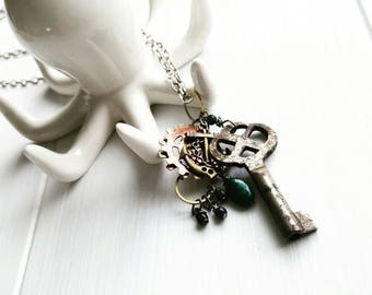 Boho Sea Necklace, Steampunk Jewelry, Antique Key, Anchor Necklace, Artisan Jewelry, Findings, Sea Green Beads, Gears, Steamer, Masquerade
