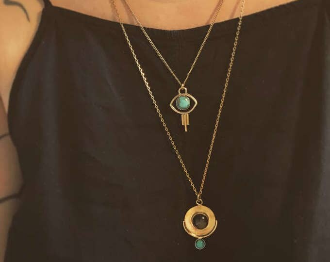 O r b i t  Geometric Circle Turquoise and Obsidian Stone Pendant Necklace