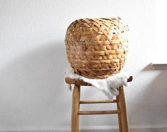 large orb boho woven rattan bamboo basket planter