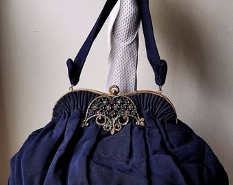 1940s Guild Creations Vintage Handbag Rhinestone Accent Never Worn