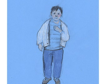 Boy drawing original art sketch illustration people figurative realistic blue line life model