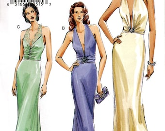 Vogue V8191 Sewing Pattern for Misses' Evening Dress - Uncut - Size 14, 16, 18