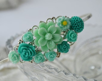 SALE-Vintage Style Floral Filigree Headband, Green Mint Birthday Party, Princess Party, Bridesmaid or Prom