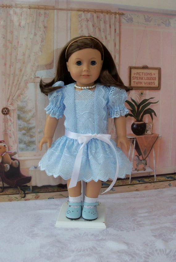 "SUPER SATURDAY SALE!  Delicate Eyelet Dress,Necklace and Full Sip  /  Clothes that fit American Girl  or other 18"" Doll"