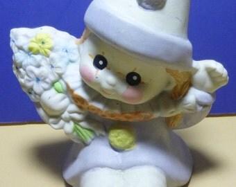 Vintage Baby Clown Ceramic Figurine, 1980s