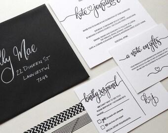 Calligraphy Invitations, Wedding, Invitations Black and White, Invitations Calligraphy, Wedding Invitations and RSVP, Invitation Set