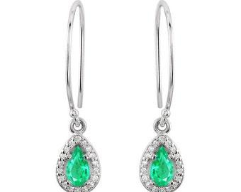 1.70 Cts Emerald halo Earrings, emerald earrings 14K, halo diamond earrings, yellow gold studs, green stone earrings, Pear halo earrings