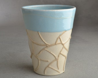 Random Lines Tumbler Ready To Ship Soda Fired Cup by Symmetrical Pottery