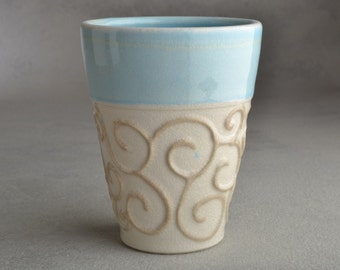 Curls Tumbler Ready To Ship Soda Fired Cup by Symmetrical Pottery