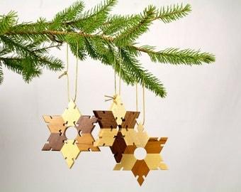 Christmas Ornament, Solid Wood Snowflake/Star Ornament, Paul Szewc