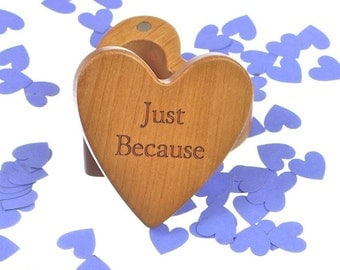 "Just Because Heart Box 2-1/4""  x  2-1/4"" X 1"" d, Deep Solid Cherry Wood, H31, Laser Engraved, Masterpiece, Paul Szewc"