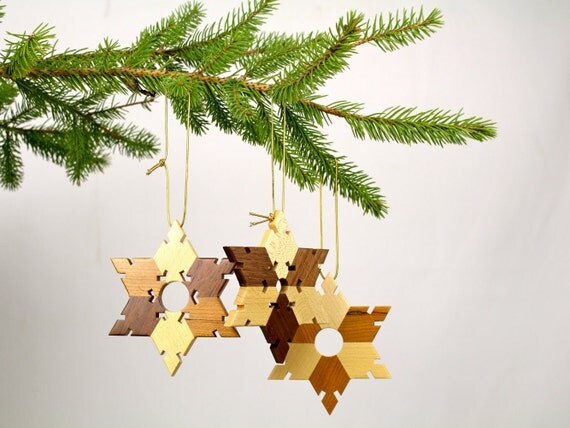 Christmas Ornament, Solid Wood Snowflake/Star Ornament, Paul Szewc