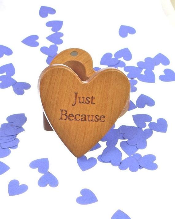 "Just Because Heart Box 2-1/4""  x  2-1/4"" X 1"" d, Deep Solid Cherry Wood, H31, Laser Engraved, Masterpiece, Paul Szewc"