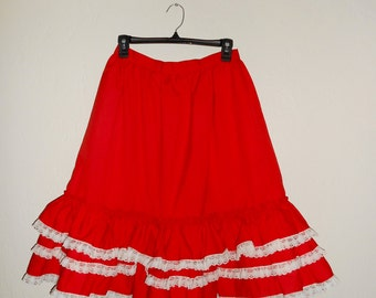 Vintage 1960s red ruffled high-waisted square-dance skirt, size Medium