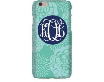 Monogram iPhone 7 Plus * 7 * 6/6S Plus * 6/6S * SE premium teal coral peony phone case personalized with name or initials