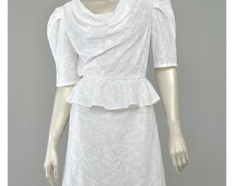 SALE Vintage 80s Peplum Dress 40s Style White Lace Dress Draped Cowl Neck Puff Sleeve Midi Dress 1980s Secretary Dress Small Medium