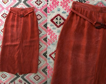 Vintage 80's Gantos Rayon Slinky Rust Colored Red Maxi Skirt with Back Slit Women's Size 8 Made in the USA Bohemian Boho
