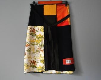 Upcycled A Line Skirt/Navy Brown Orange and Yellow/Kanji/Japanese Boro Patch Skirt