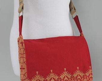 Upcycled Red Tasseled Messenger Bag