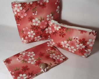 Credit Card Wallet, Zippered Bag, Purse Organization, Japanese inspired