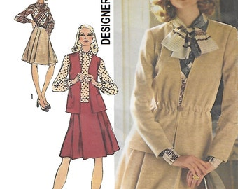 Simplicity 5730 Misses 70s Elastic Waist Cardigan, Vest and Dress with Pleated Skirt Designer Fashion Sewing Pattern Size 12 Bust 34