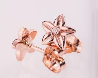 Flower Earrings, Rose Gold Diamond Earrings, Gold Diamond Earrings, Diamond Earrings, Post Earrings, Solid Gold Earrings, Vintage, antique