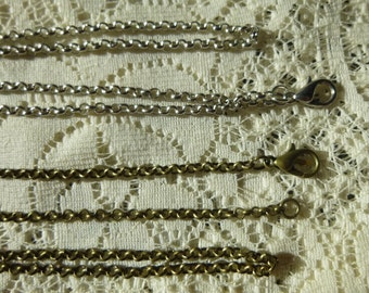 """Rolo Chain Round Link Rolo Chain Antique Silver/Antique Bronze Cable Chain 24"""" necklace/ 30"""" silver chain necklace"""