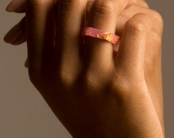 gift for her, pink hex gold flake ring, size 6 hex eco resin ring