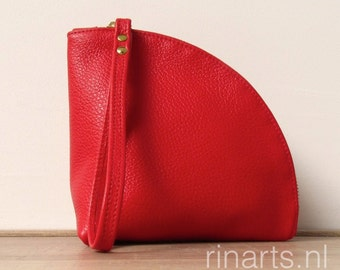 Leather Q-bag clutch / leather zipper pouch /  leather wristlet in bright red full grain Italian leather.