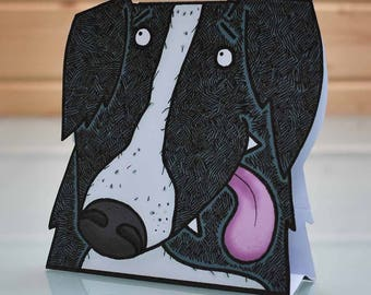 3D Old English Sheepdog Card, Border Collie Card, dog card - folding popup blank inside, dog greeting card, funny dog card, cute dog card