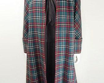 Original 1940s Vintage Green Checked Wool Overcoat UK Size 16