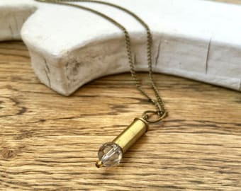 BULLET NECKLACE - brass bullet necklace with swarovski crystal - bullet jewelry - Glammunition  - eco-friendly jewelry - under 25