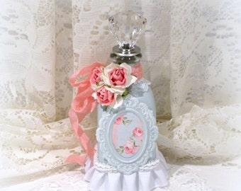 Embellished Bottle, Decorated Bottle, Altered Bottle, Shabby Chic Decor, Vanity Table Decor, Glass Bottle, Shabby Chic Bottle,perfume bottle
