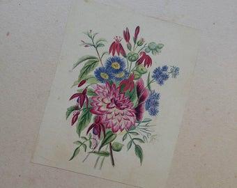 Sweet Victorian 19th Century Watercolour on Card. Bunch of Flowers - Fuschia & Dhalia ......
