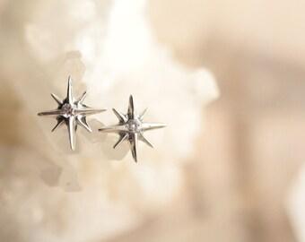 North Star Earrings, 925 Sterling Silver Stud Earrings, Earrings Studs, Gemstone Studs, Gift for her, Modern Jewelry, Handmade, Dainty Studs
