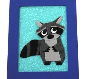 Felt Animal - Raccoon - Kids Room - Woodland Nursery Decor - 5 x 7 Framed Wall Art