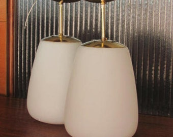 Vintage 60's Frosted Glass Pendant Light Fixtures - pair - 60's Lighting - Light Fixture - Mid Century Lighting - Frosted Glass Globes