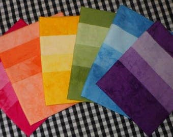 18 Fat Quarters, TEXTURED RAINBOW, 3 Shades each Color, Colorfast, Pre-Washed, Pre-Shrunk