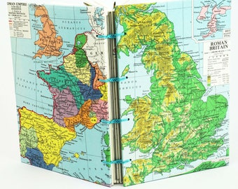 Map Travel Journal, Reclaimed Ancient Map Notebook, Travelers Sketchbook, Gap Year Notebook, Anniversary Gift