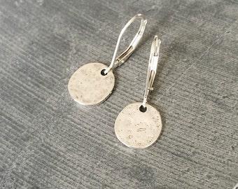 Disc Earrings, Small Disc Earrings, Small Silver Disc Earrings, Silver Disc Earrings, Silver Disc, Small Disc, Silver Earrings, Disc