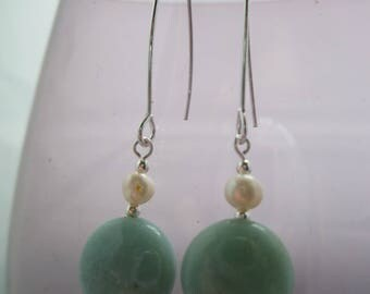 Freshwater Pearls and Amazonite Drop Earrings Sterling Silver  UK made