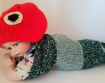 Newborn Baby Caterpillar Cocoon with Caterpillar Head Hat, Handmade