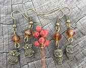 Antiqued Brass Owls . Gold Crystals . Earrings