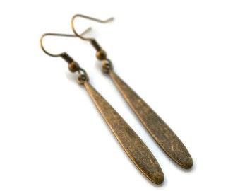 Antiqued Brass Paddles . Earrings