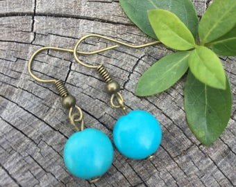 Turquoise Magnesite Rounds . Earrings