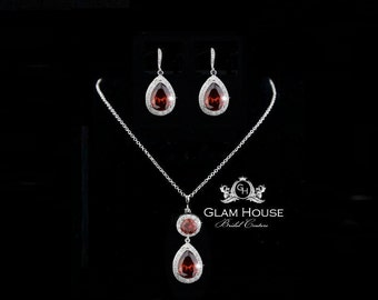 Red Jewelry,Bridal Jewelry Set,ruby earrings,ruby necklace,gifts for women,bridesmaid gift,bridesmaid jewelry,ruby pendant,red earrings