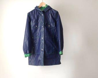 80s DUCK parka green & blue RAIN SLICKER jacket hooded toggle